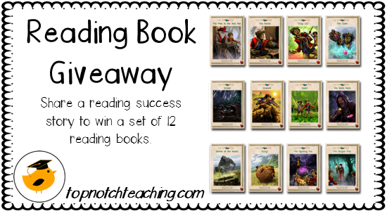 Share a reading success story and you could with a set of 12 reading books | topnotchteaching.com