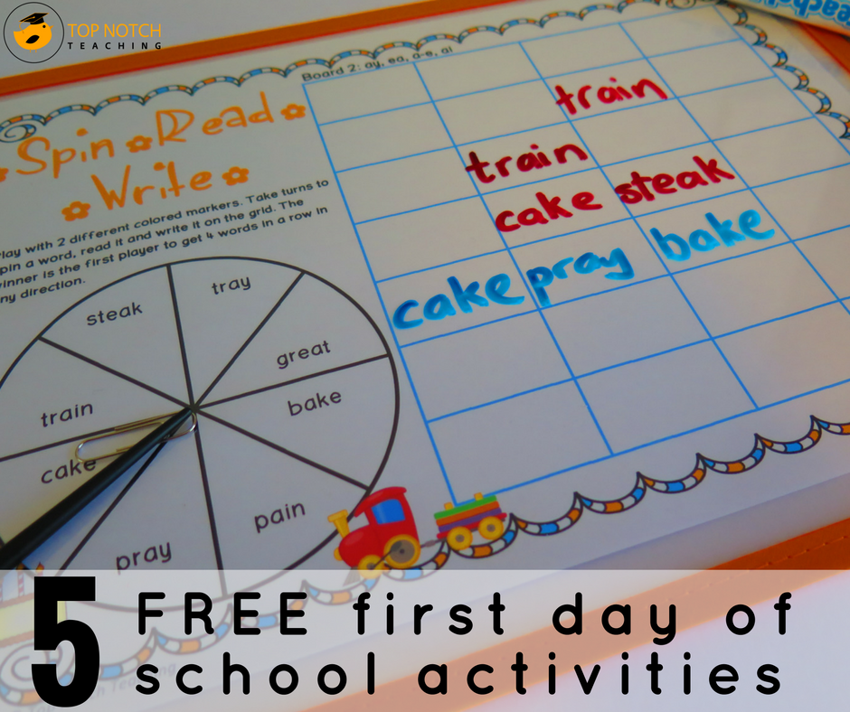 5 Free First Day Of School Activities - Top Notch Teaching