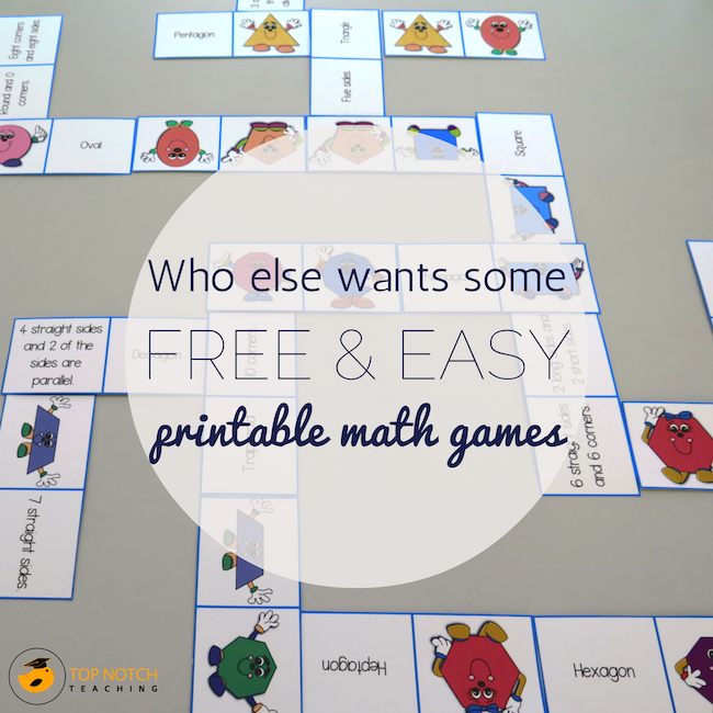 Who Else Wants Some Free & Easy Printable Math Games? | Top Notch ...