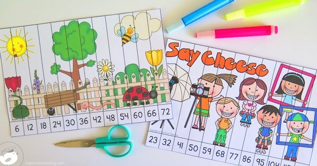 Skip counting puzzles are a fun way to practice skip counting. If you need another way to help kids practice, skip counting puzzles are for you.