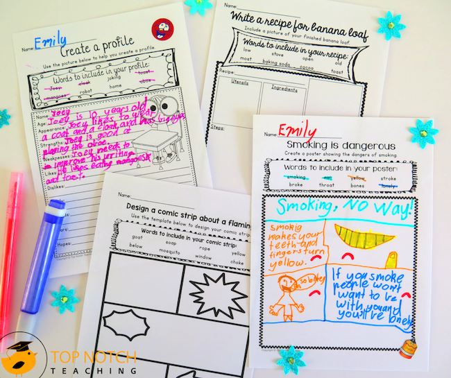 Teaching writing doesn't need to be stressful or time-consuming. No prep writing worksheets help your students revise words and use them in their writing.
