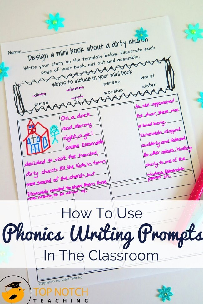 Do your students ever stare at a blank piece of paper unsure how to start writing? Do you struggle to find fun ways to engage them in phonics practice and writing? Phonics writing prompts provide structure, focus, and a little fun. Today I discuss various phonics writing prompt ideas and activities you can use in your classroom. Try them out today! #literacy #reading #spelling #phonics