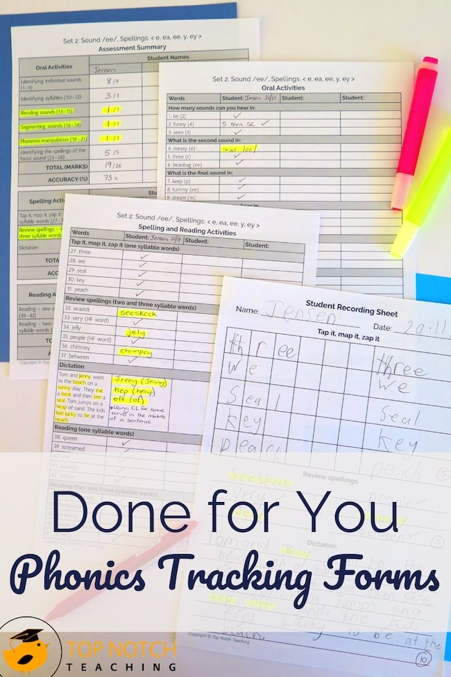 Make phonics progress monitoring easier with these done for you assessments. They can be used with any phonics program and are organized systematically.