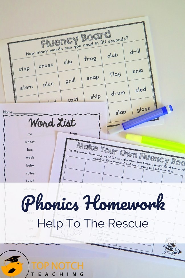 Do you ever find yourself spending a lovely Sunday trying to come up with fun ideas for phonics homework for the following week? Or scrambling Monday morning to pull together activities or worksheets? No worries—Phonics homework help to the rescue! Perfect for students in first to third grade. #literacy #phonics #homework
