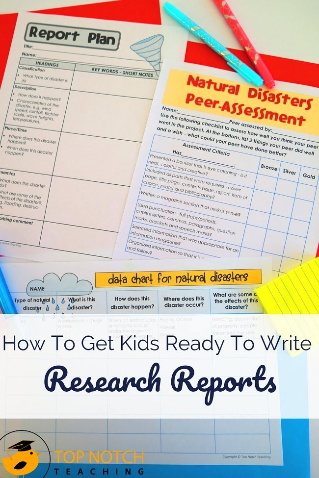 Learning how to research and write research reports are essential skills for all students. To get kids ready to write a report, start by helping them understand that reports are used to describe and share information. Then, follow this step-by-step guide on how to teach your students to write their research report. #literacy #lessonplans #writing