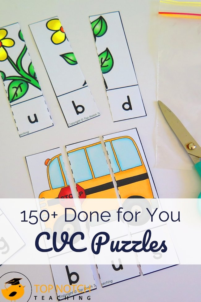 Phonics lessons just got a lot easier with these done for you CVC puzzles and word building worksheets that are perfect for literacy centers.