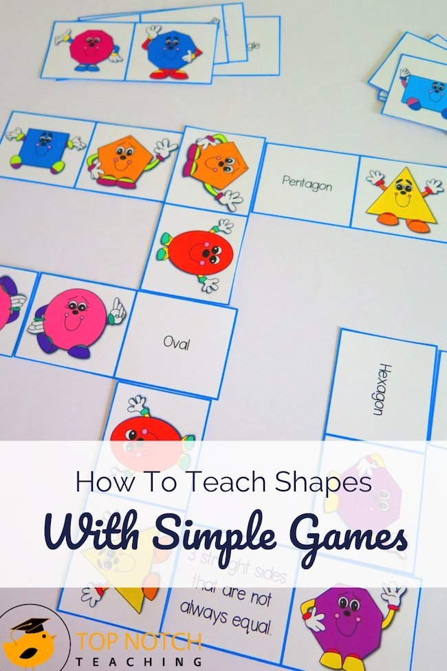 Students need to be able to recognize and name 2D shapes and define the characteristics of each shape. Here are 4 simple games to help you teach shapes.
