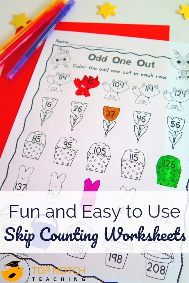 Imagine having ready to print skip counting worksheets. These skip counting activities are fun and easy to use: just print, and use in your math center.