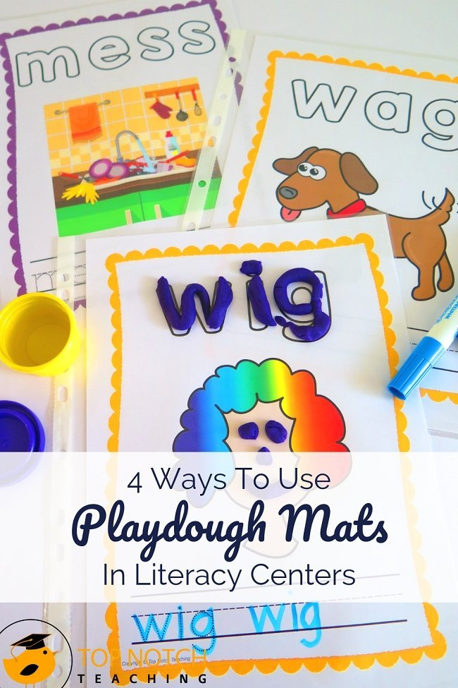 If you're looking for a fun tactile activity to help students practice CVC words, using playdough mats in your literacy center is a great way to go. CVC playdough mats give kids lots of practice segmenting and blending words, skills they will continue to use as they work with more complex words. #literacy #reading #spelling #phonics