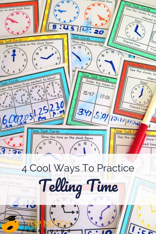Kids have a lot of questions about time and learning to tell time is essential. It's easy to add in quick time checks throughout the day, which is a great way to keep kids thinking about and practicing telling time. If you're working on telling time with your students, check out these practice activities. #timeactivities #timelessons #tellingtime #mathactivities