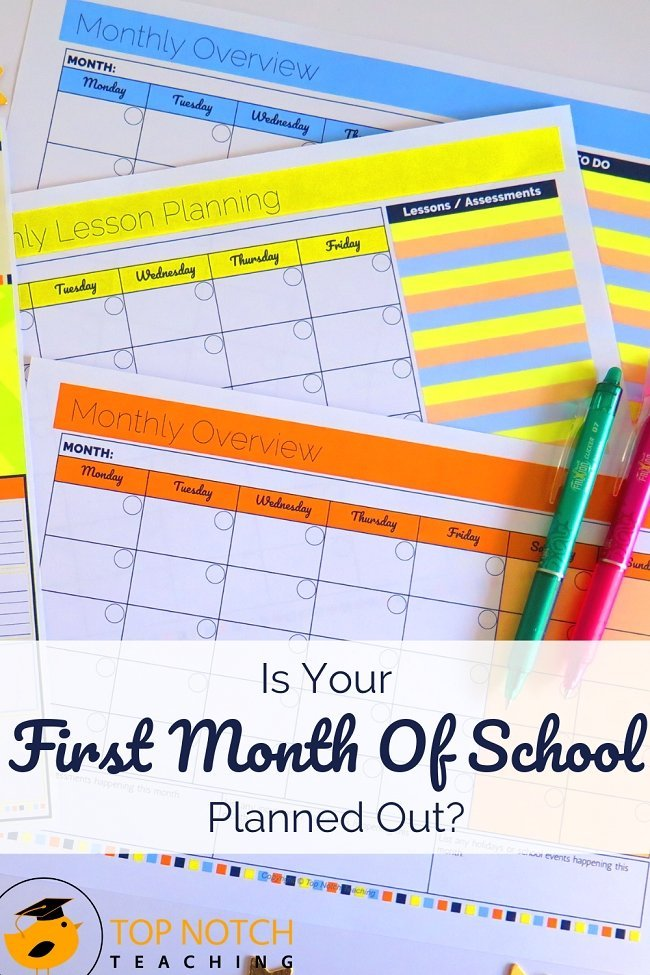 I'm a big fan of big-picture planning funneling down to more focused lesson plans. I highly recommend taking a look at the whole school year as you plan your first month of school. And once you have the month mapped out, break it down to weekly lesson plans and tasks. But let's take a closer look at the first month of school. #teacherresources #teacherorganization #classroomorganization