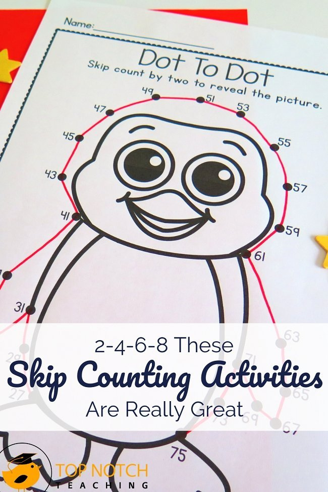 Skip counting is an important skill. It allows kids to calculate more quickly and with more ease. Plus skip counting prepares kids for multiplication and division. Having a good mix of games and activities gives students repeated, but fun, skip counting practice. Try out one of these skip counting activities with your class today! #mathactivities #mathgames #teachingmath