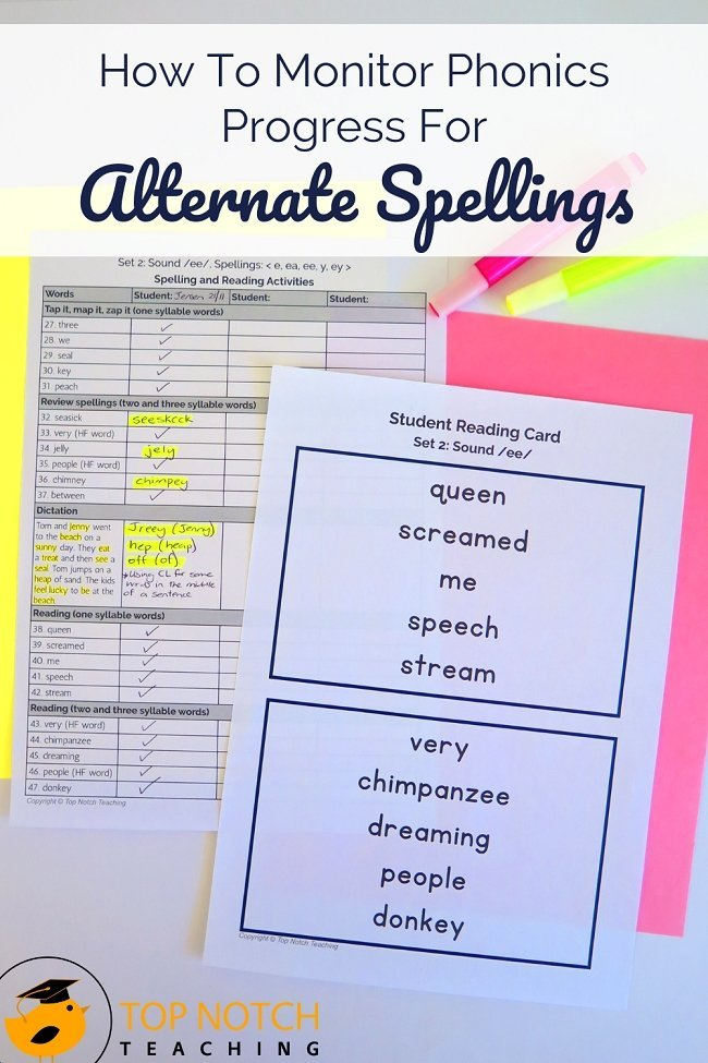Is your phonics program or intervention working? Do you have students struggling with particular alternate spellings? Are there areas you need to reteach to everyone? There's one way to find out—assessments. You'll need different kinds of assessments to see how well students understand and can appropriately use the alternate spellings. Today I discuss 3 different assessment types you can use. #literacy #phonics #reading #spelling