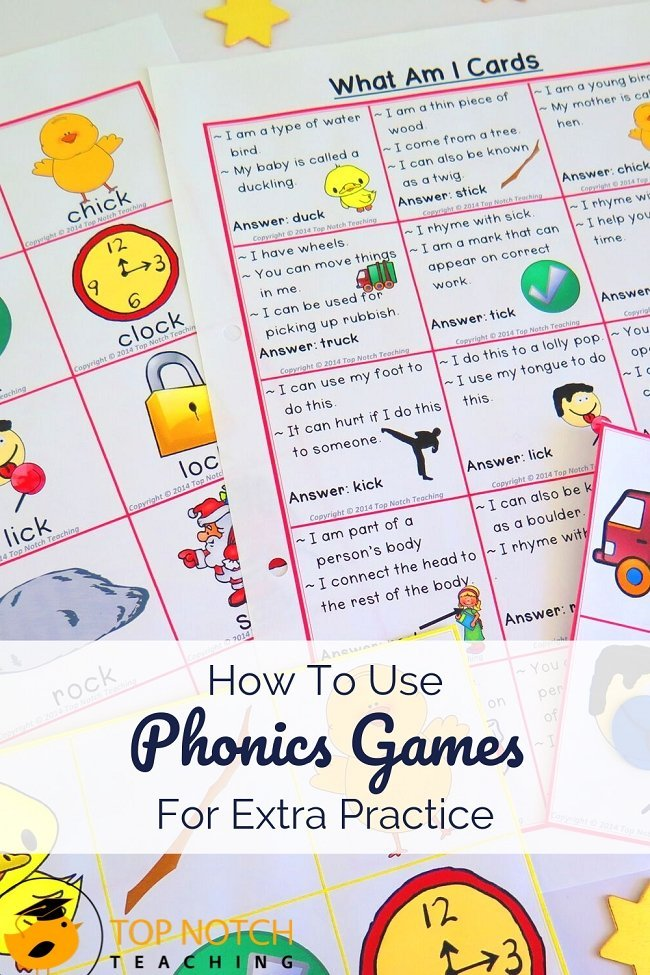 Most students need lots of phonics practice. That's why I bring a mix of activities from worksheets and fluency boards to writing prompts … and games. I love using phonics games because students often don't even realize they are getting the extra practice they need. Try out these games today! Games can be adapted for whole class, small group, or partners. #literacy #phonics #reading #spelling