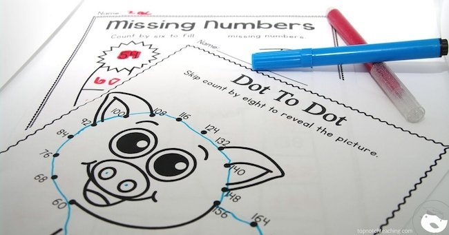 Are you after more engaging ways to teach skip counting? This pack includes 50 fun and easy to use skip counting worksheets for multiples of 6, 7, 8, 9, and 100.