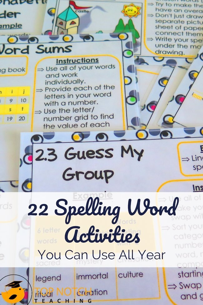 Many spelling activities use specific word lists which may not coincide with the words you're teaching. That's where spelling word activities, that you can use with any list of words, comes in!