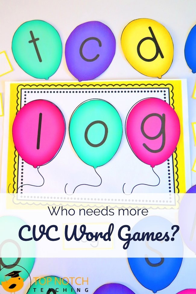 I love seeing things click for kids when they are learning CVC words. I know that having lots of CVC word games and activities at the ready helps my students. It means they get tons of practice for every set of words or sounds we are working through.