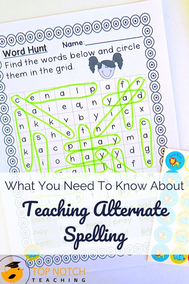 Teaching alternate spelling can be tricky. Think about all the different ways to spell the long A sound—a, ai, a-e, ay, ea, ei, ey, eigh. And then there are all the other sounds that have multiple spellings … I like to keep teaching alternate spellings simple and fun for kids. That means a clear introduction, building the skill, and lots of practice, including a mix of activities and spelling games.