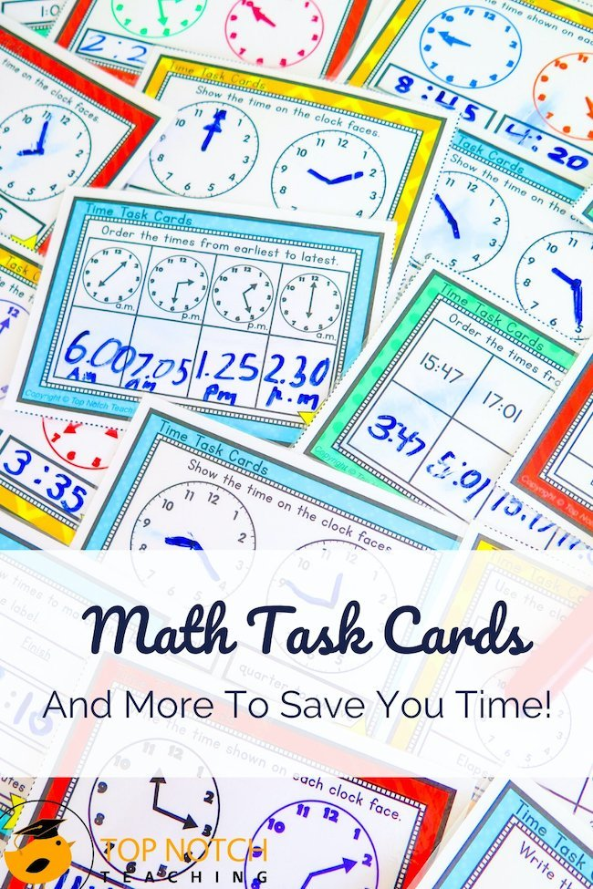 Are you a fan of task cards? My students seem to like them, and as a teacher, I find them incredibly useful. They can add variety to class and home activities as an alternative to worksheets. Math task cards might focus on time, area, fractions, or addition, for example.