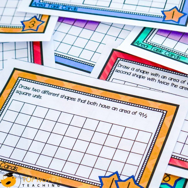 Task cards can add variety to class and home activities as an alternative to worksheets. Math task cards might focus on time, area, fractions, or addition.