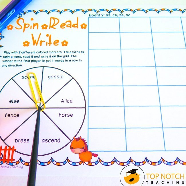 Looking for a way for students to practice alternate spellings of common sounds like /ae/ or /er/? Spin, Read & Write phonics games are just what you need.