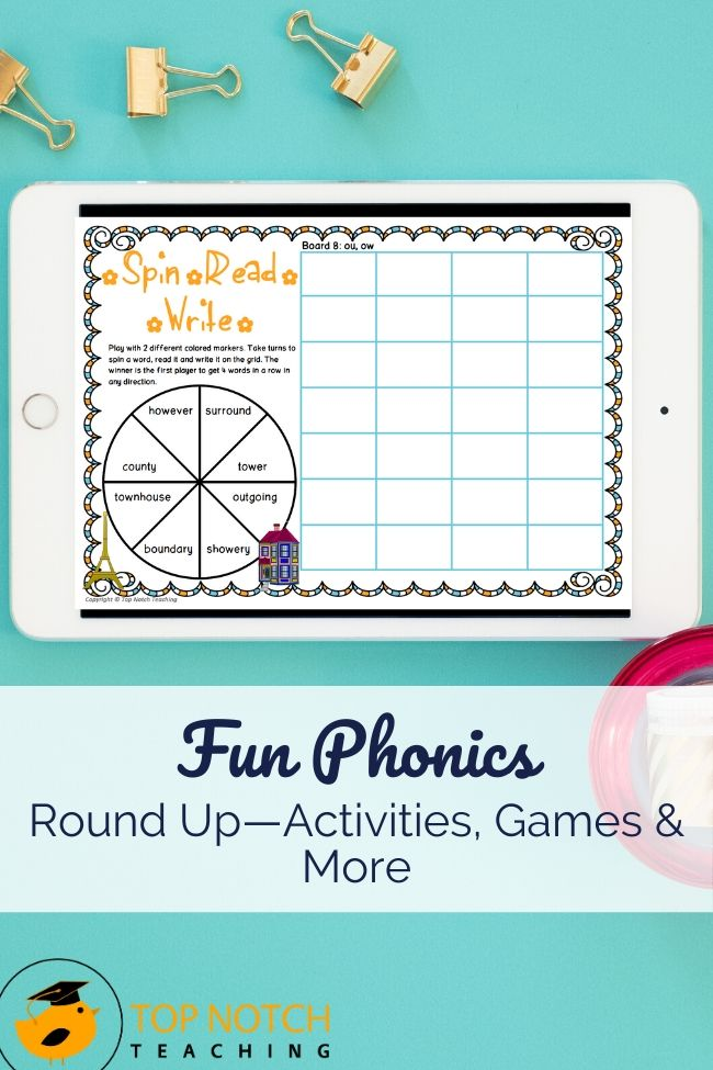 You can never have too many phonics activities, so I've pulled together a bunch of favorites. These fun phonics activities and games cover CVC words, long vowel sounds/multiple spellings and digraphs. Try these activities for independent work and in pairs, small groups, or the whole class. Some can even be sent home for extra practice while keeping homework fun.