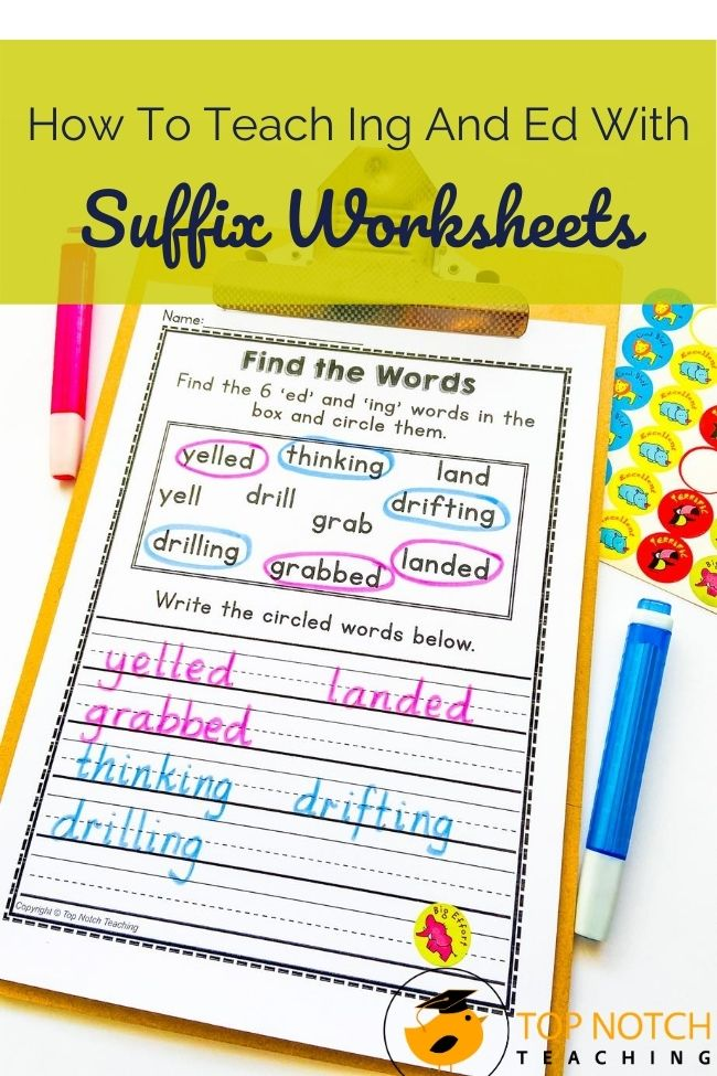 Students need to understand how to add suffixes to different types of words, and the suffixes -ing and -ed are often some of the first students learn. Let's look at some ideas for introducing the suffixes and how suffix worksheets help with practice. Once students understand the basics, it's time for plenty of practice. Suffix worksheets give students different ways to interact with –ing and –ed words. How To teach Suffixes With Ing Ed Worksheets here!