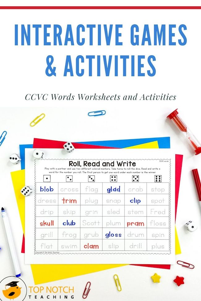 In this NO PREP phonics pack your students will be engaged in reading and spelling ccvc words. The pack includes FUN ccvc worksheets and interactive games.