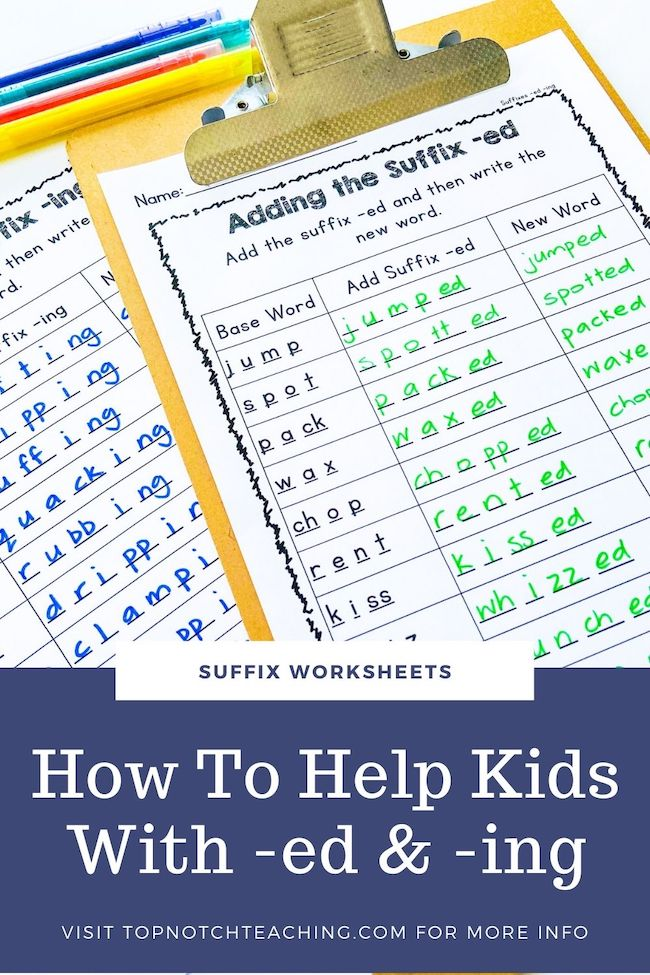 Learning suffixes often begins with -ed and -ing, and these suffixes get used a lot. Give your students plenty of practice with suffix worksheets.