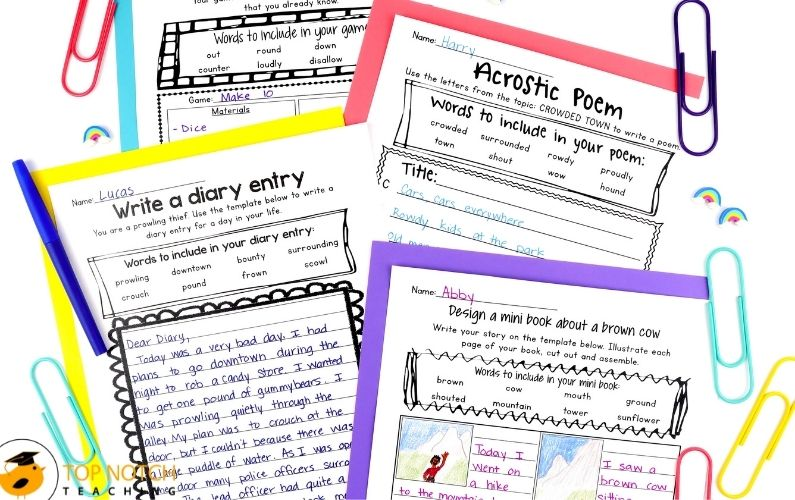 Phonics Writing Prompts For ow Words