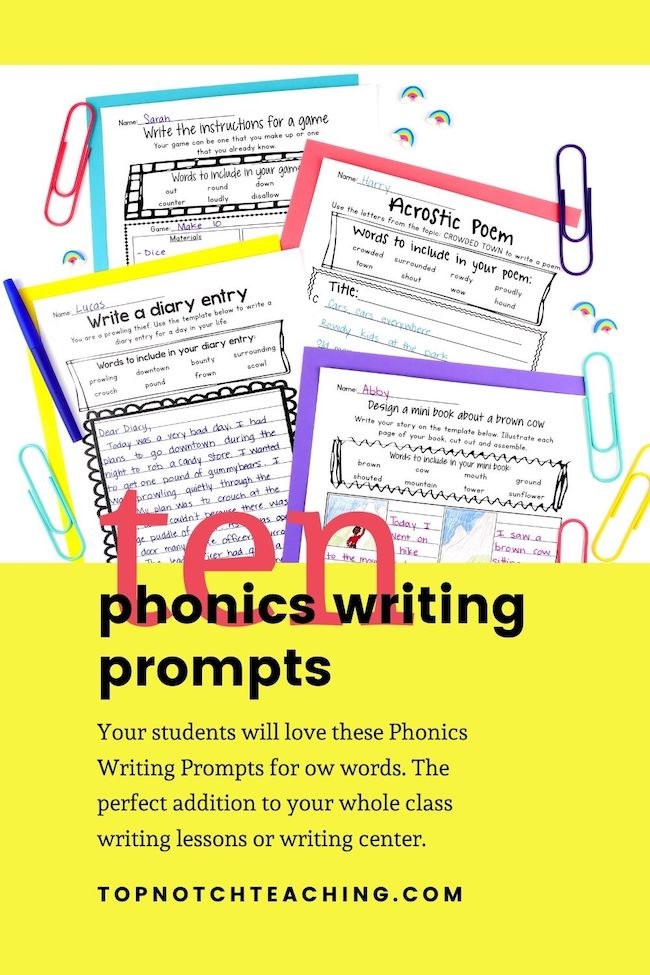 Your students will love these Phonics Writing Prompts for ow words. The perfect addition to your whole class writing lessons or writing center.