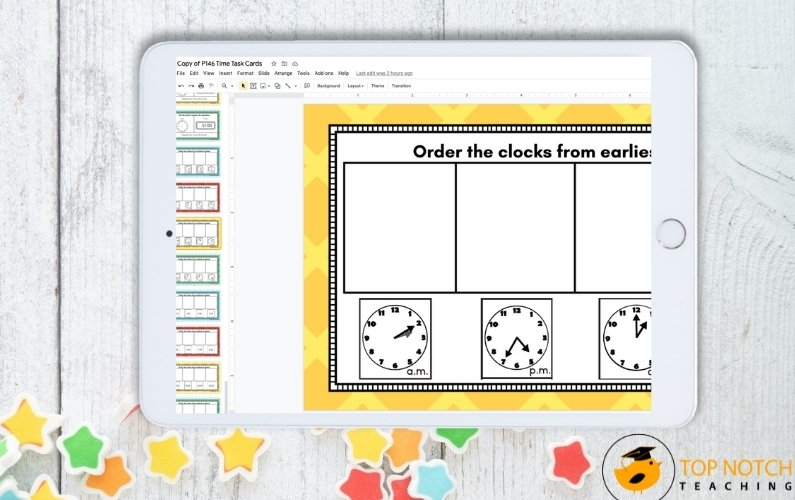 Math lessons just got a lot easier with these 60 done for you telling time task cards (printable and digital) that are perfect for math centers.