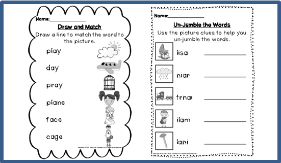 Worksheets Ai Ay Worksheets digraph activities games worksheets a e ai ay top notch teaching