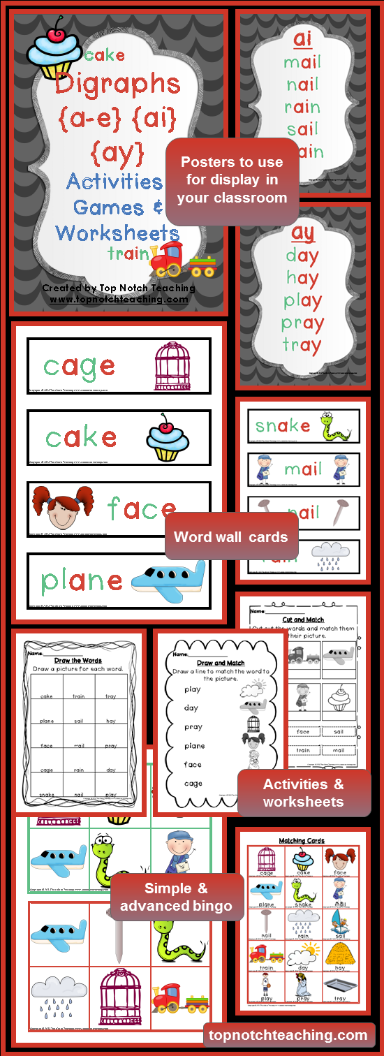 worksheet Ai Ay Worksheets digraph activities games worksheets a e ai ay top notch sneak peek inside the pack