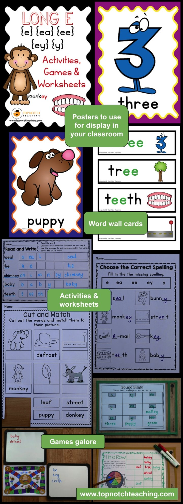 Long E Activities, Games & Worksheets