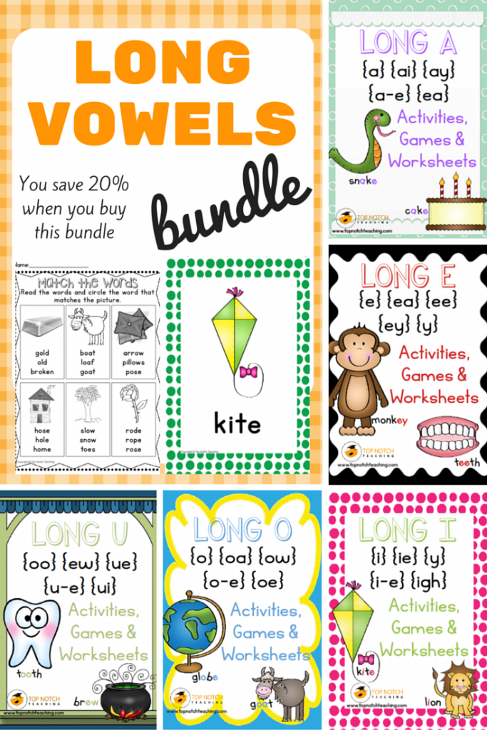 There are 5 individual packs in this bundle that includes 330 pages of fun, hands on activities and games for teaching all of the long vowel sounds: a, e, i, o, u.