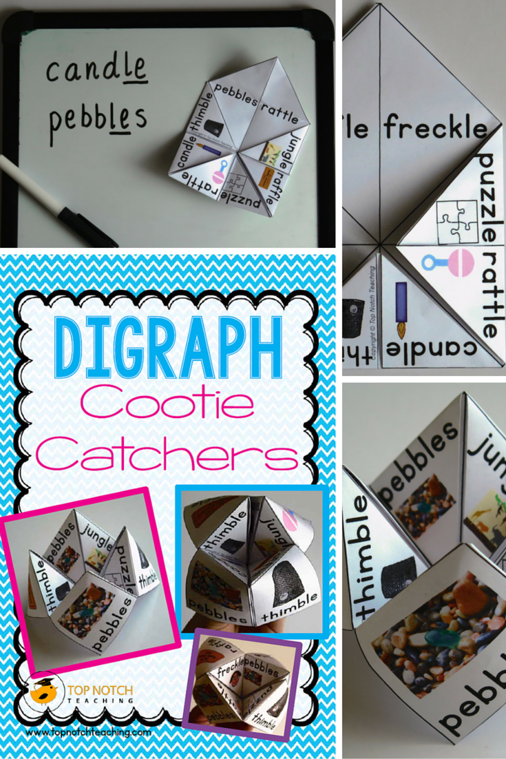This pack includes 14 different cootie catchers to help your students learn to read and spell words containing digraphs. They are split into 8 sets, where each set focuses on one digraph.