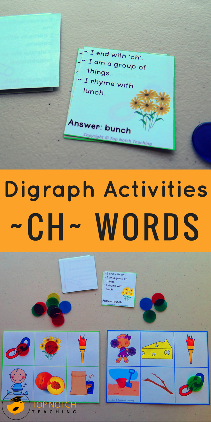 My students love playing games especially the digraph ch bingo game, which is always a hit! Whether you're looking for new activities for teaching digraphs to your kindergarten students or for some more ch words worksheets, I'm sharing some of my favorite ch words activities and games.