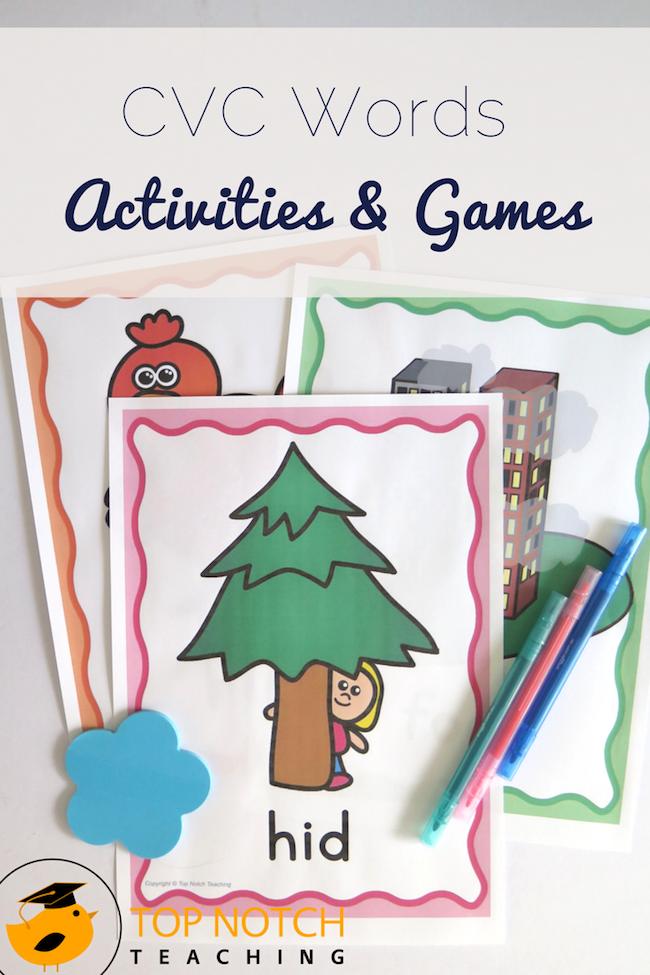 Are you teaching your kindergarten kids how to read and spell CVC words? Here you'll find CVC activities, games and worksheets.