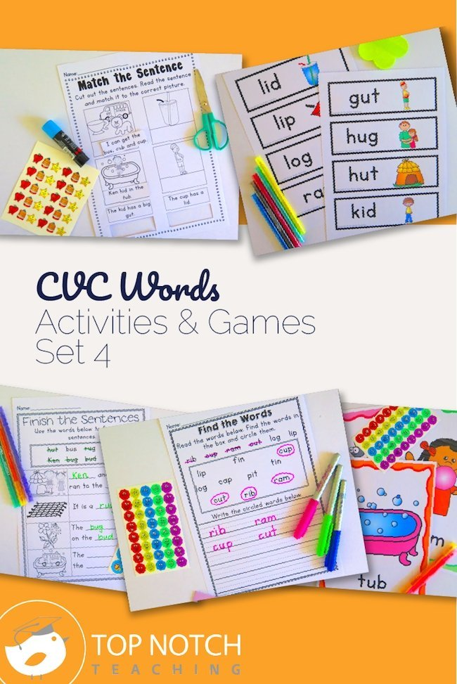 Are you teaching your kindergarten kids how to read and spell CVC words? Here you'll find CVC words activities, games and worksheets.