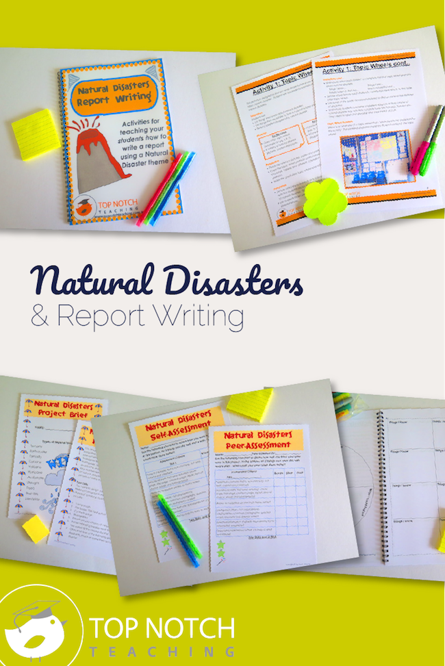 Help your students learn how to write a report with these natural disasters lessons for kids. There are 5 individual activities as well as a final project.
