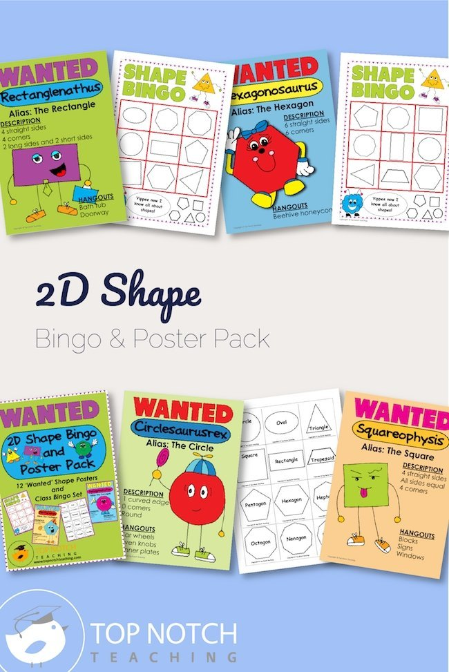 Make teaching 2D shapes a breeze with this 2D shape bingo and poster pack. The pack is adaptable for introducing, practicing, or reviewing shapes.
