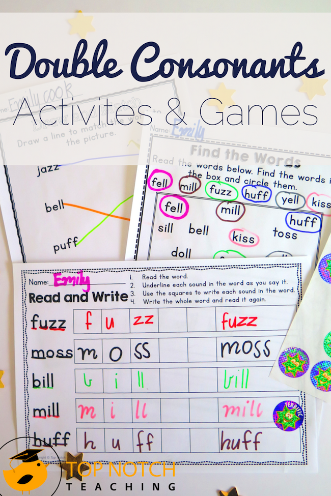 Are your kids working on double consonants? This pack will help your students to read and spell CVC words that contain double consonants.