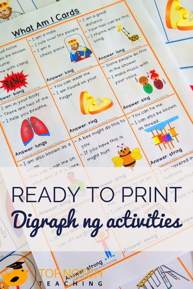 This digraph ng words pack provides ready to print posters, games and activities that are perfect for independent practice and small group work.