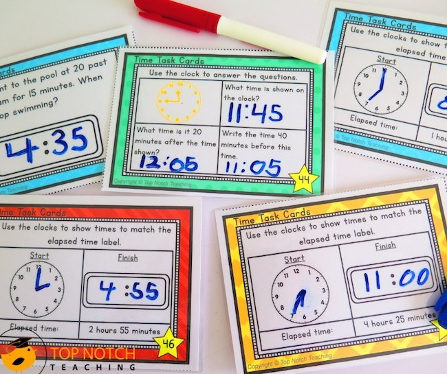 Math lessons just got a lot easier with these 60 done for you telling time task cards and elapsed time task cards that are perfect for math centers.
