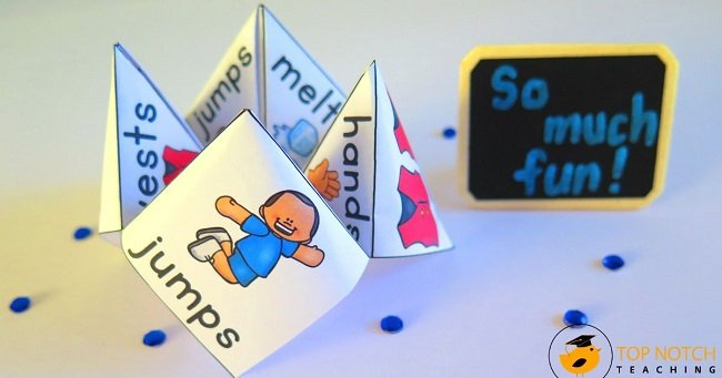 Whether you call them cootie catchers, chatterboxes, or fortune tellers, these folded papers are a favorite with kids—and a great way to practice spelling.