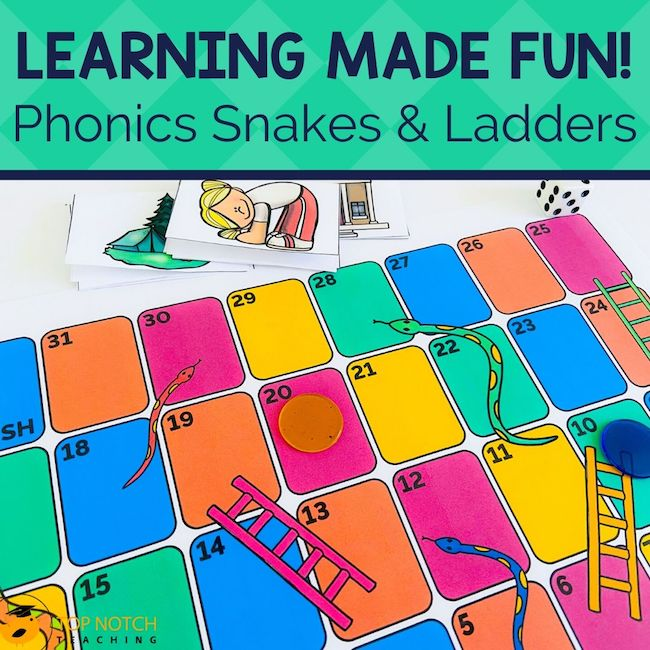 Your beginning readers are going to LOVE these Phonics Snakes and Ladders Games for reading and spelling. This game is perfect for first grade students.