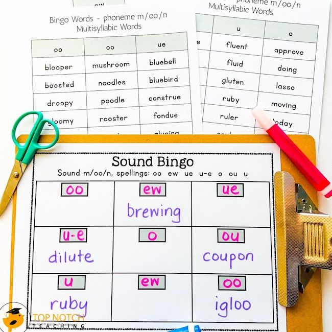 This FUN and Ready to Use Phonics BINGO resource is a great way to use spelling games to help your students master their phonics sounds and spelling words.