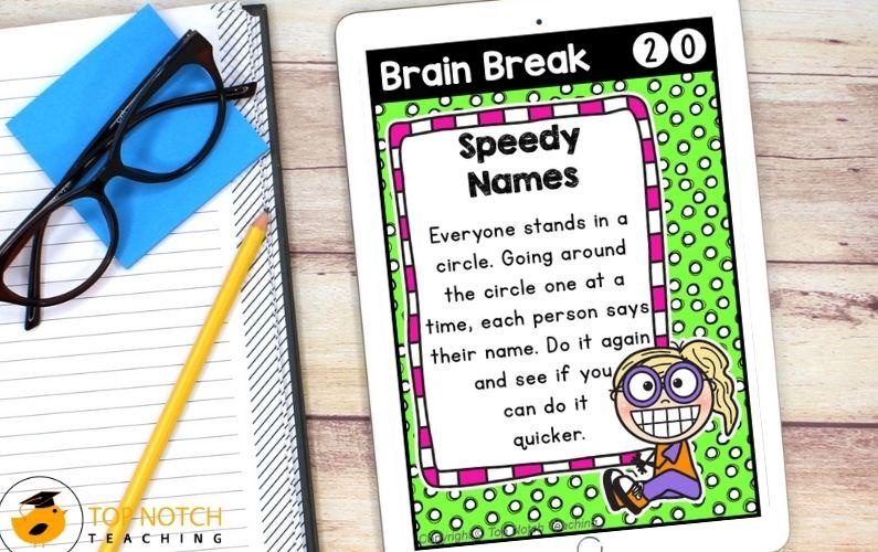 Printable Brain Break Cards