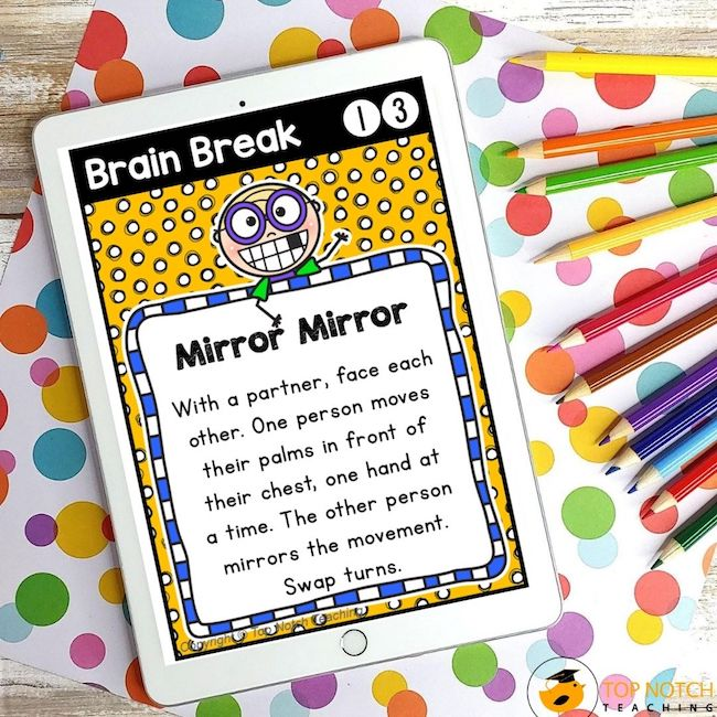 These 60 brain break cards were designed to help students take a short mental break and regain focus. The perfect addition to any classroom management system!
